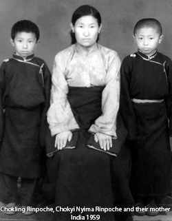 Chokling, Chokyi Nyima Rinpoche and their mother India 1959